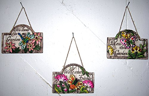 Rustic Garden Theme Hanging Signs Concrete Wall Plaques With Gemstones Butterfly Dragonfly Bee Flowers Bless This Garden Welcome Friends To My Garden