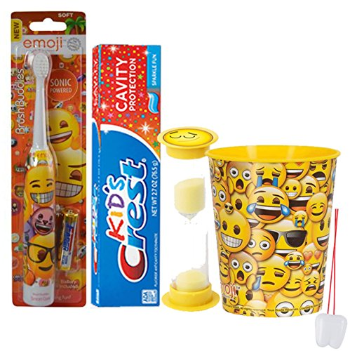 Emoji Inspired 4pc Bright Smile Oral Hygiene Set! Turbo Spin Toothbrush, Toothpaste, Brushing Timer & Rinse Cup! Plus Bonus Tooth Necklace!