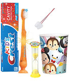 Tsum Tsum Indpired 4pc Bright Smile Hygiene Bundle! Include Flashing Lights Toothbrush, Toothpaste, Timer & Rinse Cup! Plus Bonus Tooth Necklace