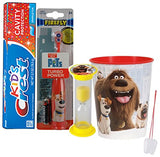 "The Secret Life Of Pets ""Max"" Inspired 4pc Bright Smile Oral Hygiene Set! Powered Toothbrush, Toothpaste, Timer & Cup! Plus Bonus Tooth Necklace"
