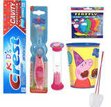 Peppa Pig Inspired 4pc Bright Smile Oral Care Bundle Light Up Toothbrush, Toothpaste, Brushing Timer &  Rinse Cup Plus Bonus Visual Aid!