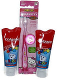 Hello Kitty Toothbrush and Kids Colgate Toothpaste Bundle - One Toothbrush and Two Tubes of Toothpaste - 3 Item Bundle by Firefly
