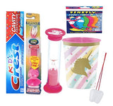 Unicorn Sparkle Inspired Girl's 4pcs Bright Smile Oral Set! Toothpaste, Flashing Light Toothbrush, Timer & Rinse Cup! Plus Bonus Tooth Necklace!