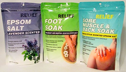 Epsom Salt Soak Muscle Relief Bundle, Eucalyptus, Lavender, Spearmint & Menthol (3 x 16 oz Packs)