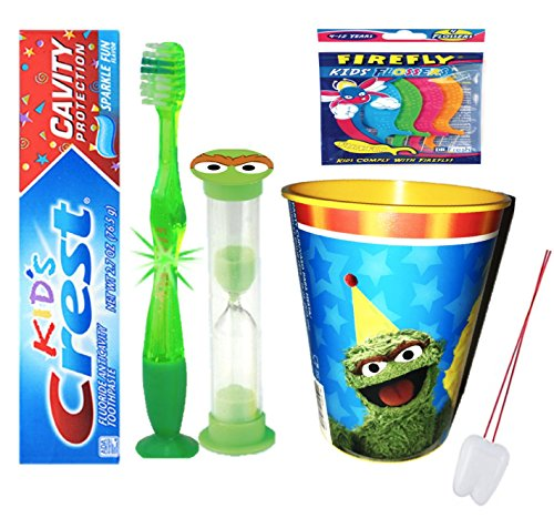 Sesame Street Oscar the Grouch Inspired 4pc Bright Smile Set! Flashing Lights Toothbrush, Toothpaste, Timer & Cup! Plus Bonus Tooth Necklace!