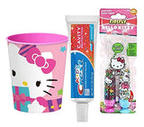 Hello Kitty Inspired Bright Smile 4pc Hygiene Bundle! Firefly Hello Kitty Light-Up Time, Soft Toothbrush, Toothpaste and Hello Kitty Rinse Cup!