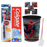 Marvel Spiderman Super Hero Inspired 4pc Bright Smile Oral Hygiene Bundle! (1) Spider-Man Manual Toothbrush with Caps (1) Colgate Toothpaste, Matching cup Plus bonus