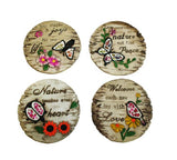 Set of 4 Decorative Garden Stones - Life, Heart, Love and Peace