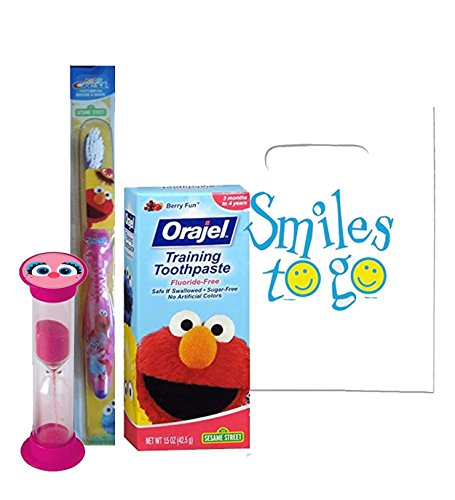 "Sesame Street ""Abby Cadabby & Elmo"" Inspired 3pc Bright Smile Set! Toothbrush, Toothpaste & Timer! Plus Tooth Necklace"