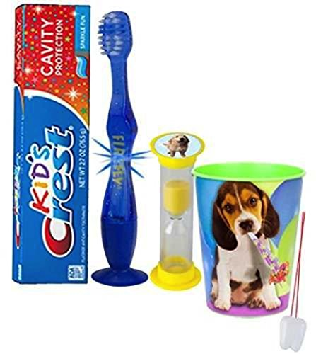 """Puppy Love"" Dog Inspired 4pc Bright Smile Oral Set! Flashing Lights Toothbrush, Toothpaste, Brushing Timer & Rinse Cup! Plus Bonus Tooth Necklace"