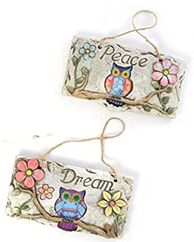 Owl Hanging Wall Plaques Signs with Garden Flowers Rustic Concrete (Dream & Peace)