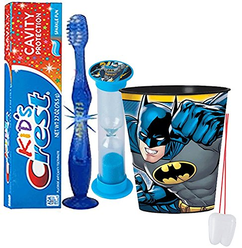 "DC Comics ""Batman"" Inspired 4pc Bright Smile Oral Hygiene Set! Flashing Lights Toothbrush, Toothpaste, Timer & Rinse Cup! Plus Bonus Tooth Necklace!"