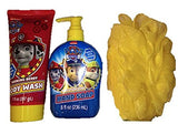 Paw Patrol Bath Bundle - 3-Items: Body Wash and Hand Soap with Sponge (Yellow)