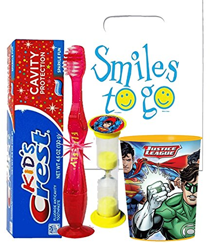 Justice League Superman Inspired 4pc Bright Smile Hygiene Bundle! Light Up Toothbrush, Toothpaste, Brushing Timer & Cup!  Plus Bonus