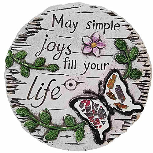 Cement Stepping Stone 7 inch Round (May simple joys fill your life)