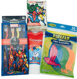 Bundle 4 Items: Kids Dental Care: 4 Marvel Suction Cup Toothbrushes, Colgate Kids Bubble Fruit Toothpaste 3.5 Ounces, 30 Firefly Flosser, 20 Marvel Bandaids