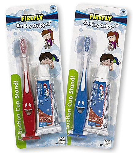 Firefly Toothbrush Smiley Gripper With Toothpaste (2 Pack)