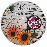 Cement Stepping Stone 7 inch Round (Welcome each new day with Love)