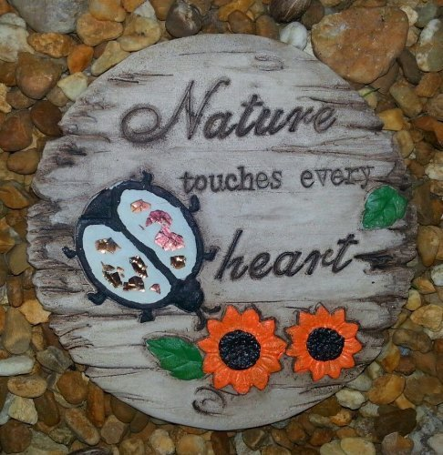 Garden Decor Stepping Stone Nature Touches Every Heart by Greenbrier International, Inc.