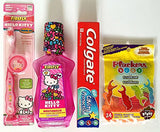 Hello Kitty Toothbrush Home Travel Bundle Kit with Kid's Mouthwash, Colgate Toothpaste, and Dental Floss 4 PC Set