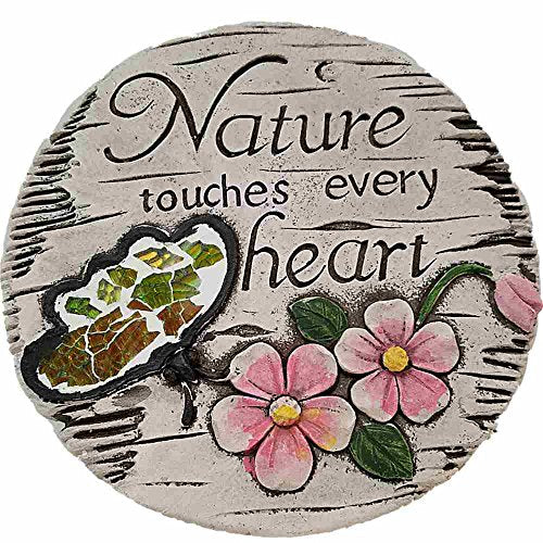 Bonita Home Cement Stepping Stone 7 inch Round ((Nature Touches Every Heart)