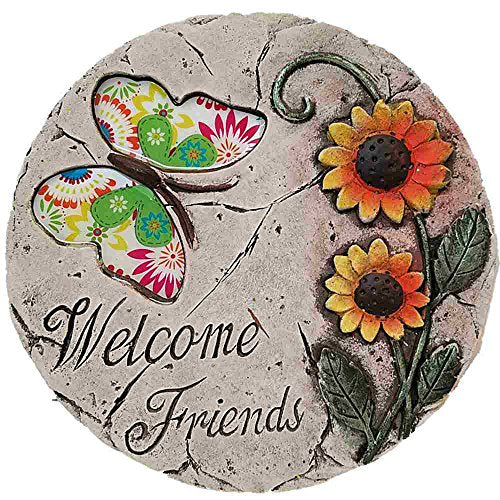 Cement Stepping Stone 8 inch Round (Welcome Friends with Butterfly)