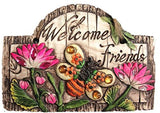 Outdoor Garden Decor Hanging Floral Plaques with message (Bee:Welcome Friends)