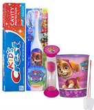 "Paw Patrol""Skye"" Girls 4pc Bright Smile Oral Hygiene Set! Turbo Spin Toothbrush, Toothpaste, Brusing Timer & Rinse Cup! Plus Bonus Tooth Necklace"