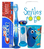 Finding Dory Licensed Themed 4pc Bright Smile Oral Hygiene Bundles! Light Up Toothbrush, Toothpaste, Timer & Rinse Cup! Plus Bonus Tooth Necklace