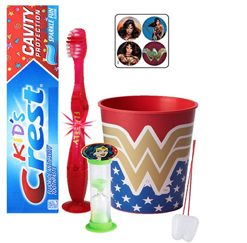 Wonder Woman Inspired 4pc Bright Smile Oral Hygiene set! Light Up Toothbrush, Toothpaste, Timer & Rinse Cup! Plus Bonus Tooth Necklace
