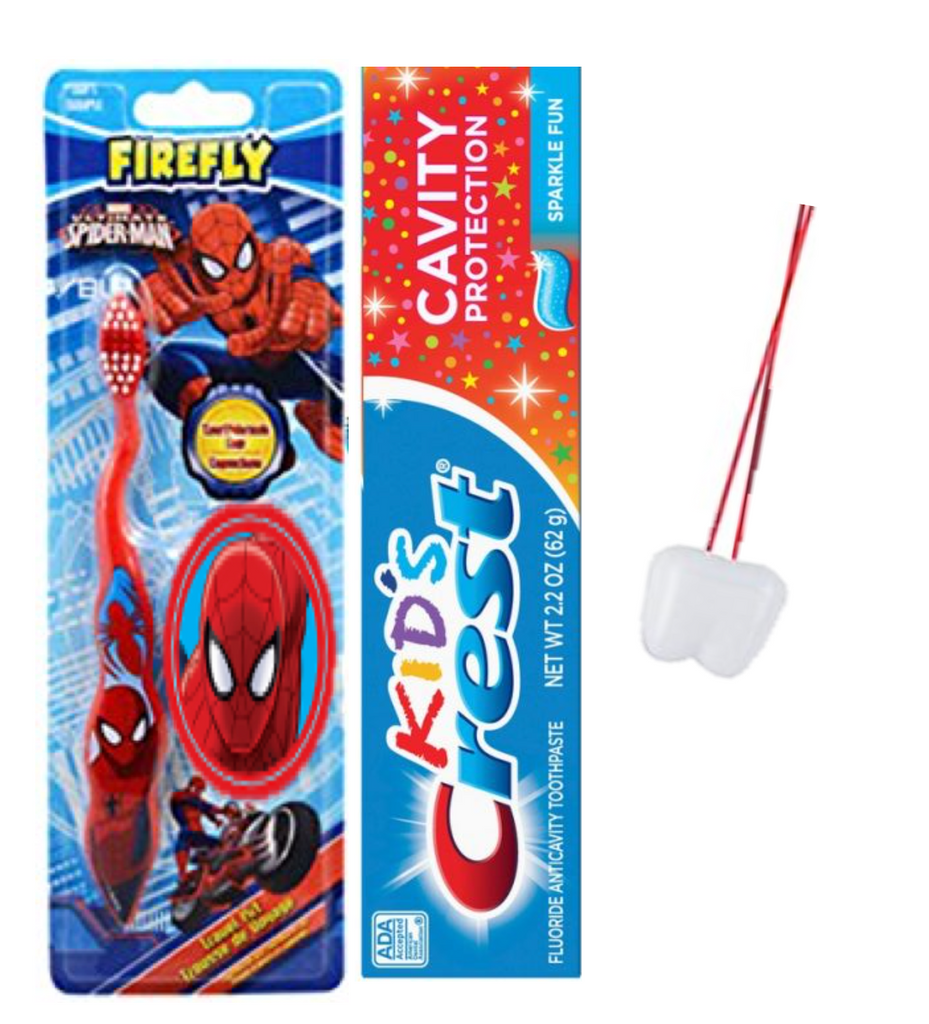 Children's Soft Toothbrush Travel Kit Bundle - Spider-Man with Suction Cup and 2.7 Oz Kids Crest Toothpaste Sparkle Fun Flavor