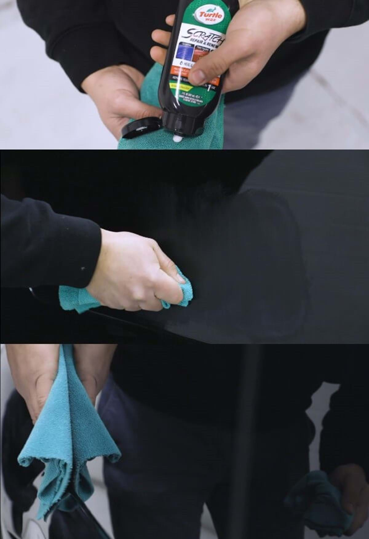 full step guide how to remove light scratches using turtle wax scratch repair and renew compound using a green microfiber cloth and hand application