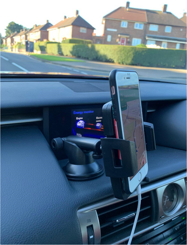 Universal Windshield and Dashboard Car Phone Mount Holder Stand with Washable Gel Pad Mounted on Dashboard