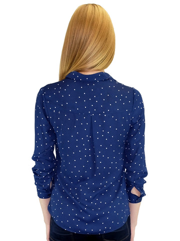 Relished Piper Navy Polka Dot Button-Up