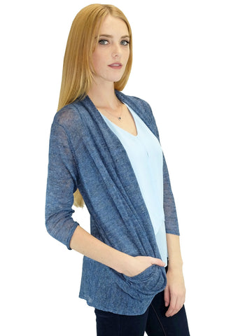 Relished Blue Candace Pocket Cardigan