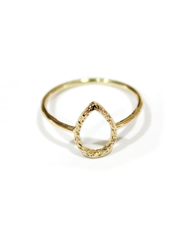 Gold Teardrop Ring with Brushed Detailing