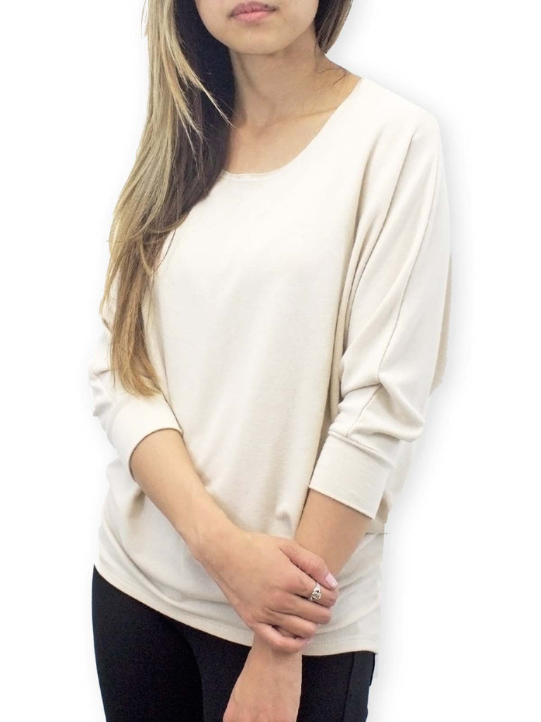Beige Raw-Edged Dolman Top
