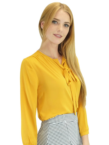 Relished Corinne Mustard Long Sleeve Blouse
