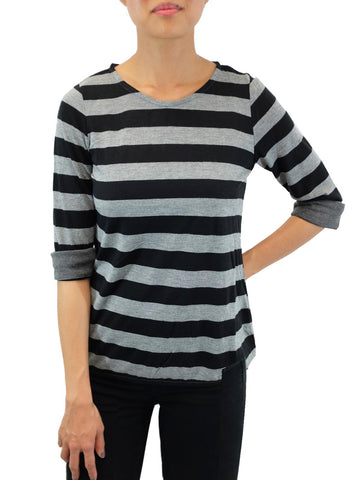 Relished Grey/Black Parisienne Chic Wide-Striped Top