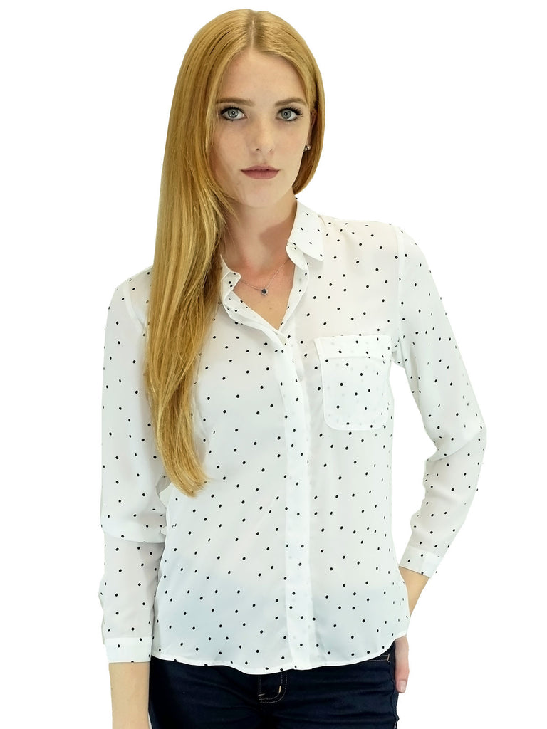 Relished Piper White Polka Dot Button-Up
