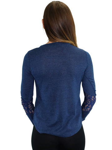 Relished Jacinthe Navy Lace Sleeve Top