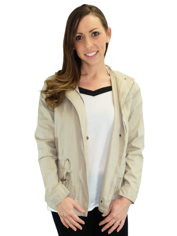 Relished Marin County Beige Hooded Utility Jacket