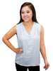 Grey V-Neck Sleeveless Blouse