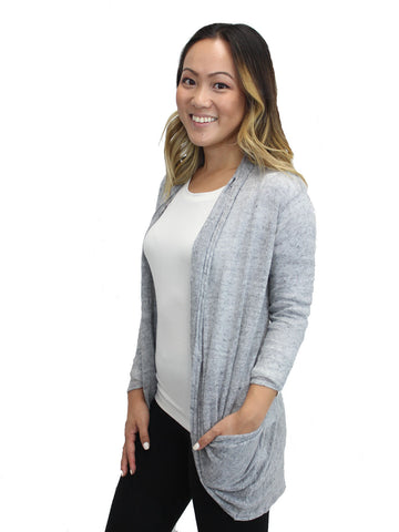 Relished Grey Candace Pocket Cardigan