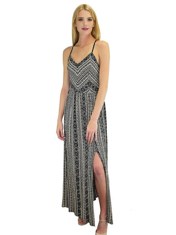 Tribal Maxi Slit Dress