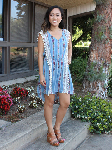 Blue Aztec Boho Fringe Dress
