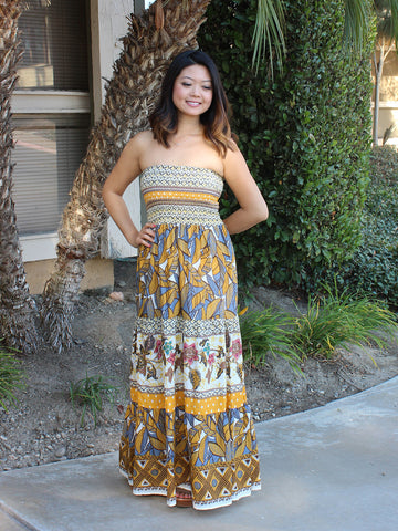 Daytime at the Bazaar Strapless Maxi Dress