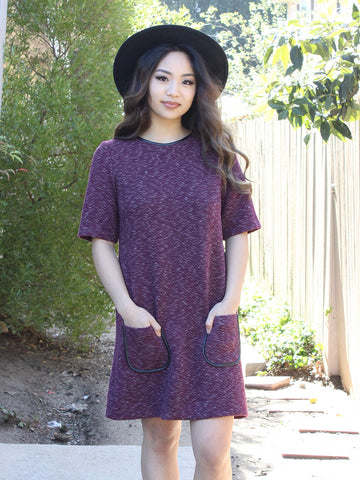Wine Spacedye Pocket Shift Dress