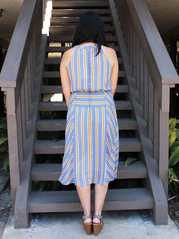Blue and Gold Striped Halter Midi Dress
