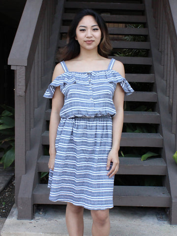 Blue Striped Ruffle Off-the-Shoulder Dress